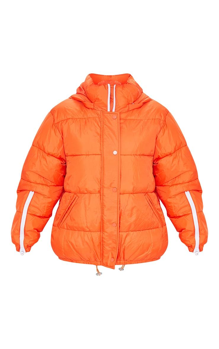 Orange Nylon Oversized Zip Sleeve Puffer Jacket 5