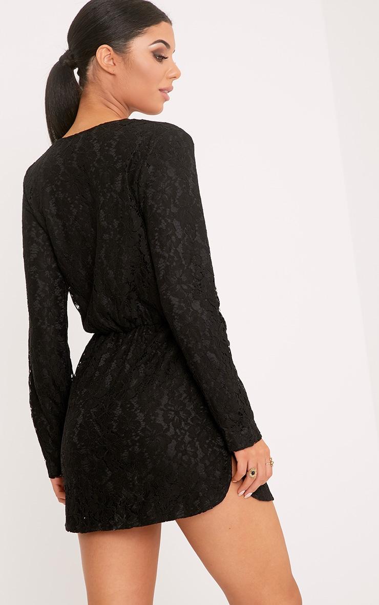 Dottie Black Lace Twist Front Shift Dress 2
