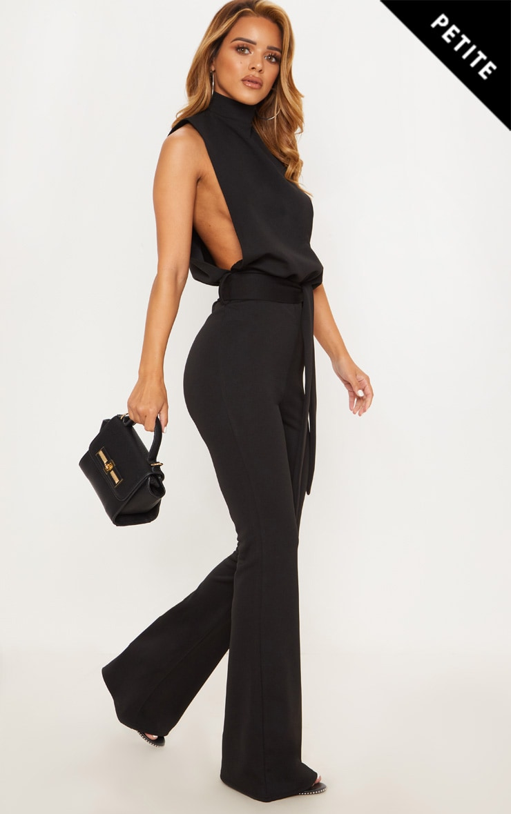 Petite Black Scuba High Neck Tie Waist Jumpsuit