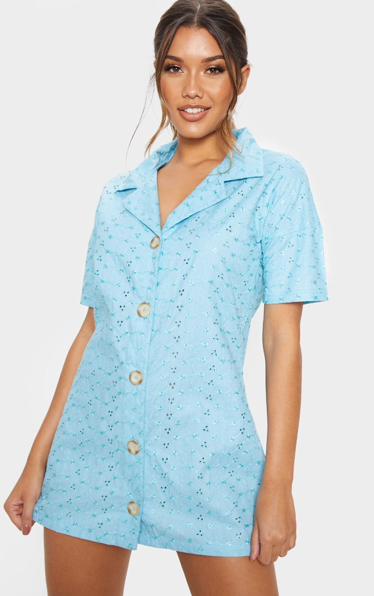 Baby Blue Broderie Analgise Tortoise Shell Button Shirt Dress 4