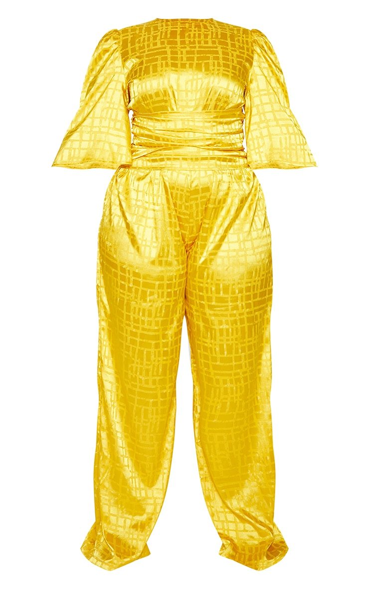 Plus Chartreuse Satin Jacquard Short Sleeve Ruched Jumpsuit 5