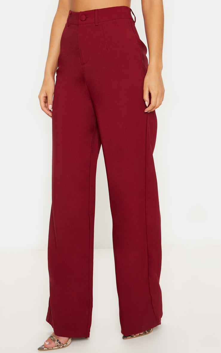 Burgundy Wide Leg Suit Trouser 2