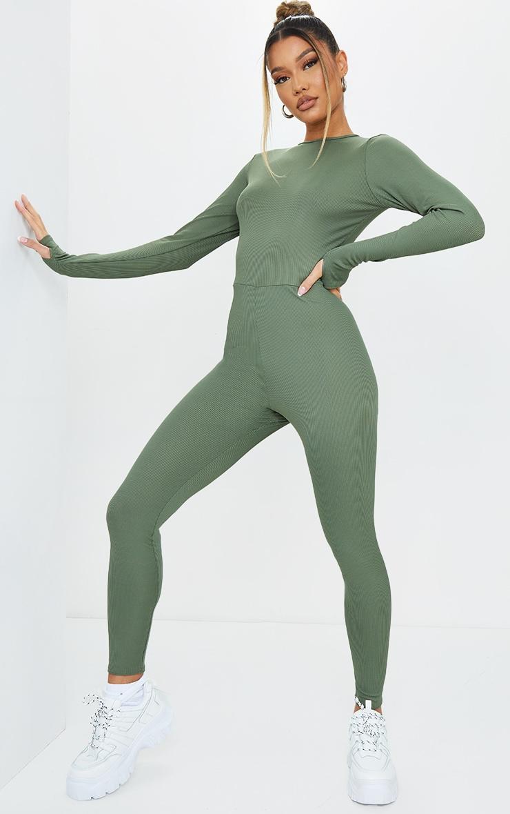 Khaki  Rib Long Sleeve Thumb Hole Jumpsuit 1