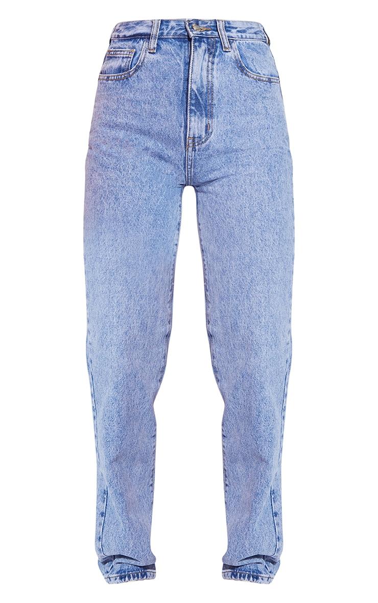 Mid Blue Acid Wash High Waist Straight Leg Jeans 5
