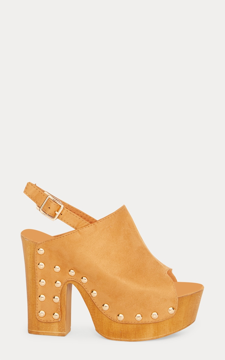 Tan Studded Slingback Heeled Mule 3