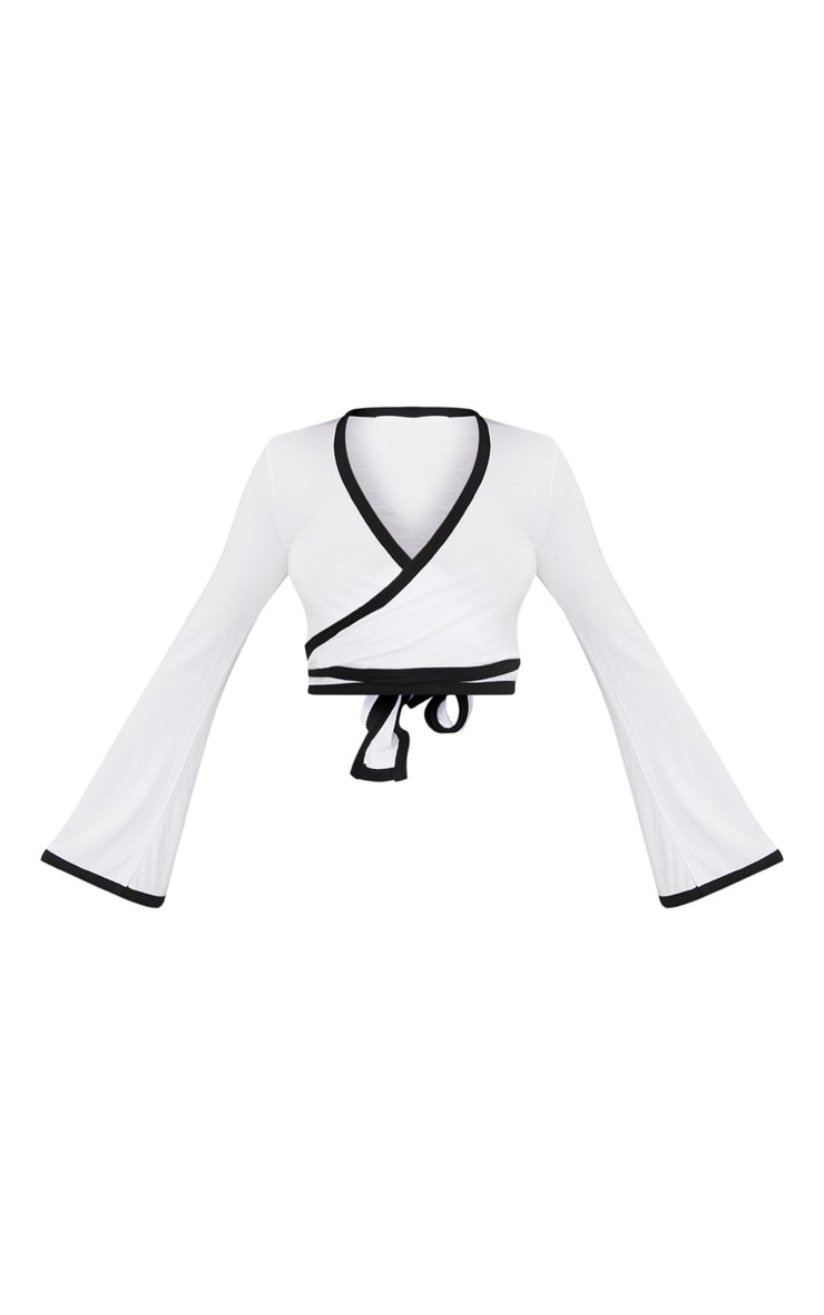 White Contrast Wrap Long Sleeve Crop Top  3