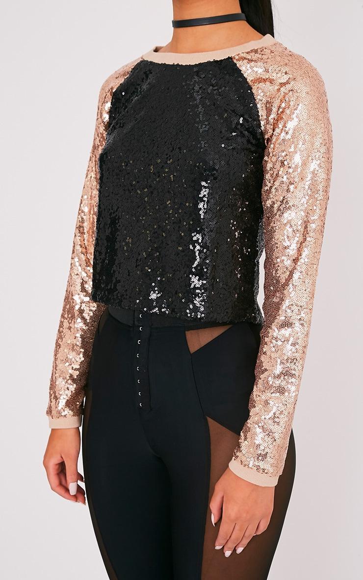 Charletta Black Sequin Colourblock Sweatshirt 6