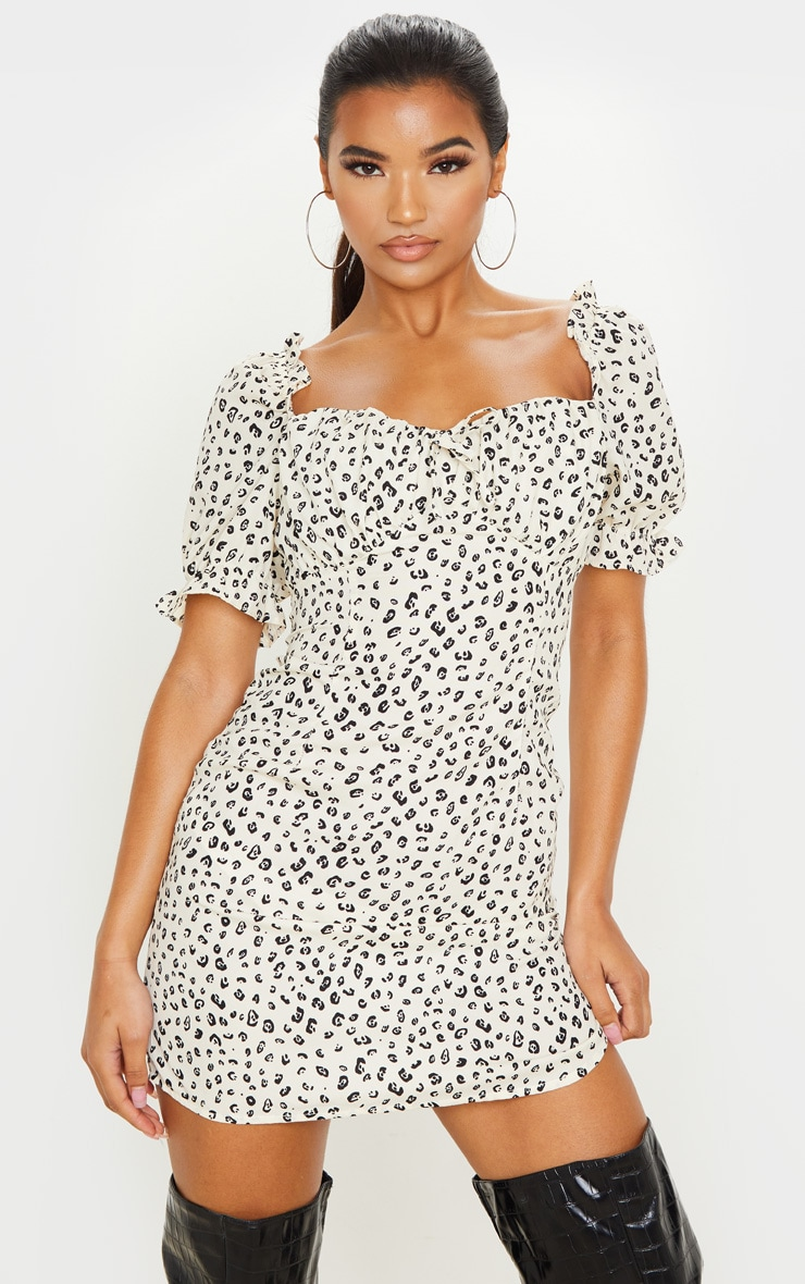 Cream Leopard Print Ruched Cup Puff Sleeve Shift Dress