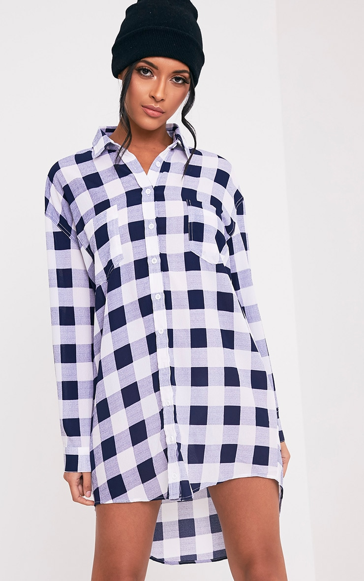 Perrie Blue Oversized Checked Shirt Dress 5