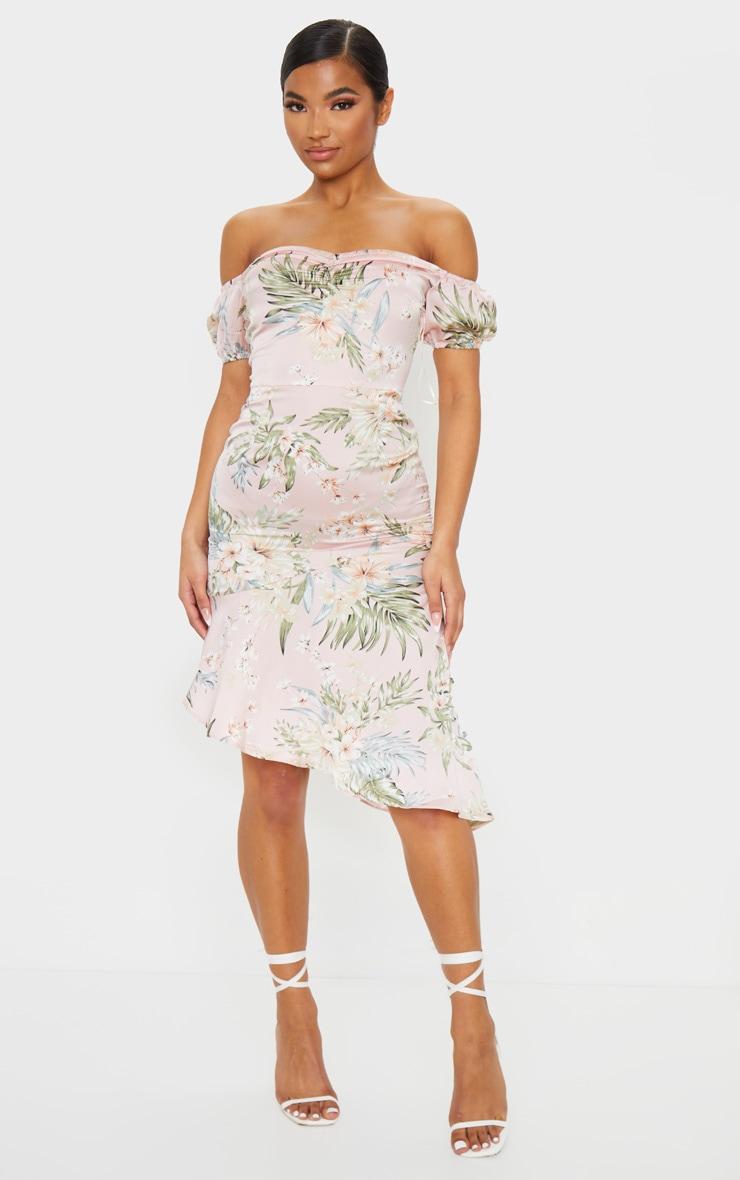 Baby Pink Floral Print Bardot Asymmetric Frill Midi Dress 4