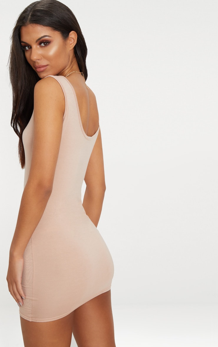 Basic Nude Scoop Neck Bodycon Dress 2