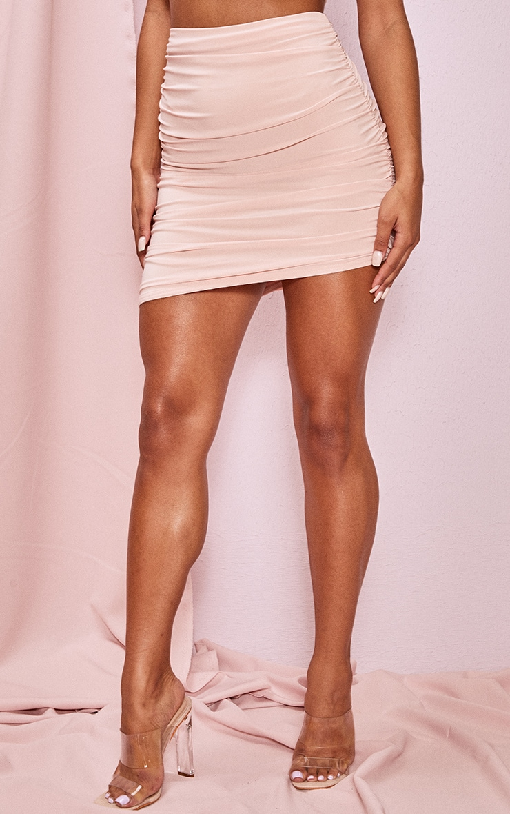Blush Slinky Ruched Side Seam Mini Skirt 2