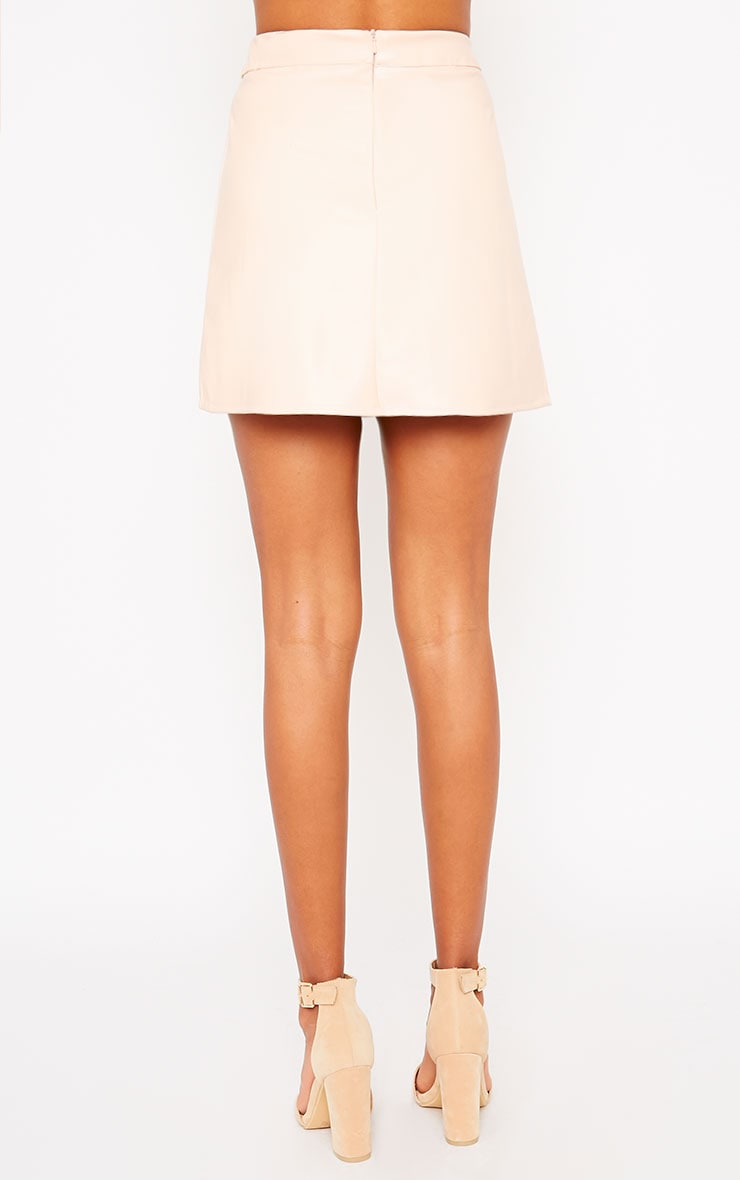 Rose Peach Faux Leather A-line Mini Skirt  4