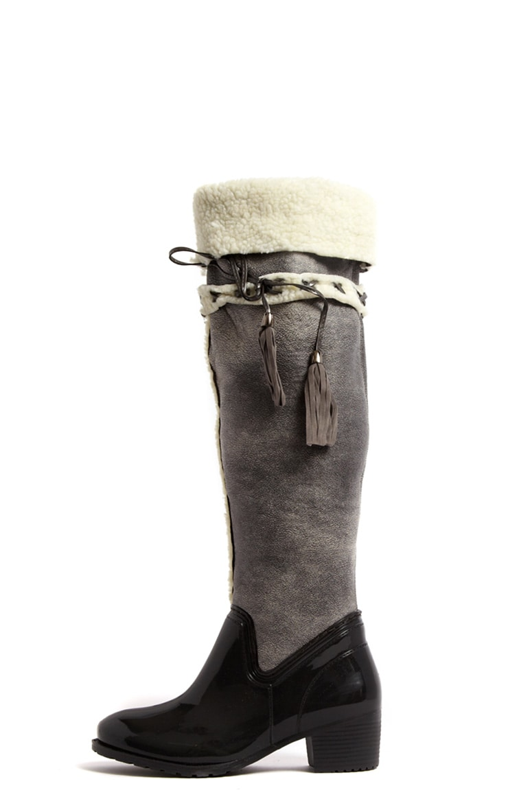 Zanthe Grey Faux Shearling Lined Tassle Riding Boots 1