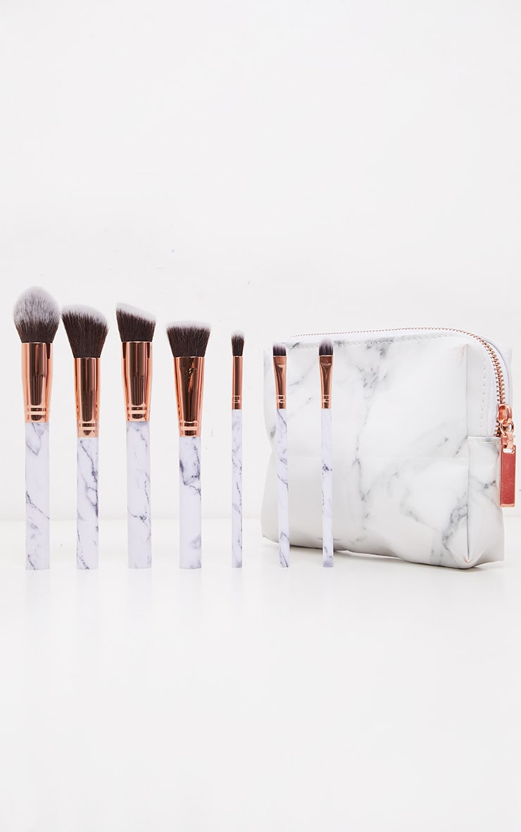 Zoe Ayla 7 Piece Marble Effect Make Up Brush Set with Leather Pouch 4