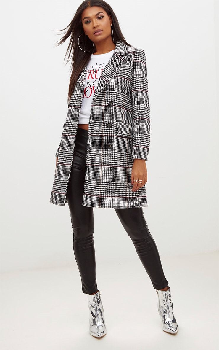 Grey Check Double Breasted Wool Coat 1