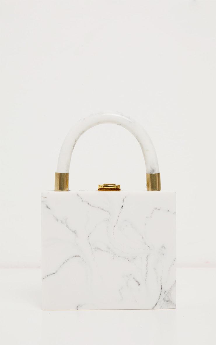 Cream Mini Square Resin Clutch Bag 2