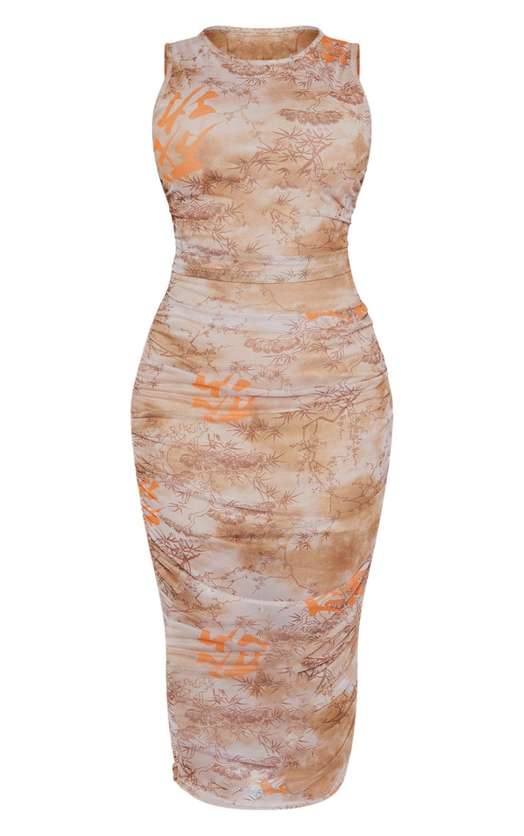 Shape Nude Oriental Print Sleeveless Midi Dress 5