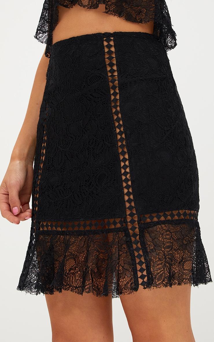 Black Lacey Trim Detail Frill Hem Mini Skirt 6
