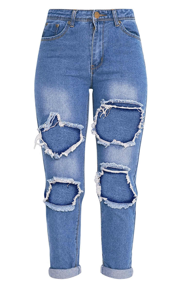 Kourtney jean déchiré taille mi-haute avec ouverture au genou délavage moyen 3