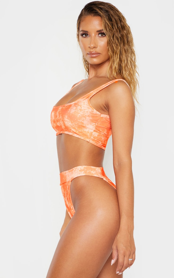 Orange Acid Print High Leg Elastic Waist Bikini Bottom 2