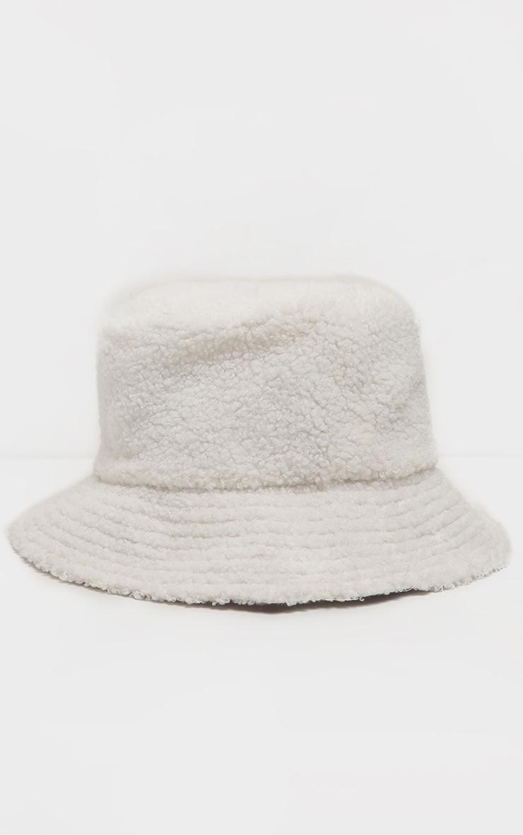 Cream Borg Faux Fur Reversible Bucket Hat 3