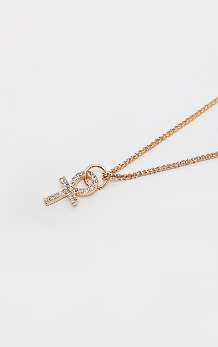 Gold Diamante Mini Ankh Necklace 2