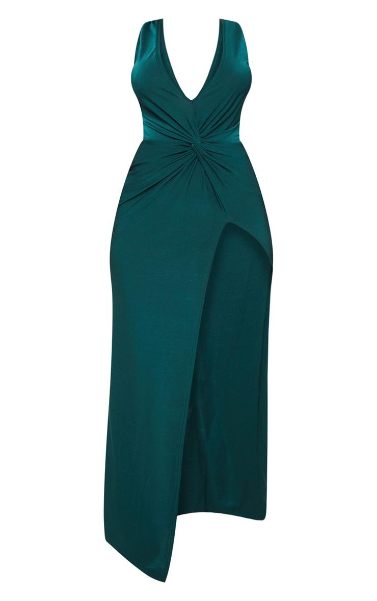 Shape Emerald Green Slinky Wrap Detail Maxi Dress 3