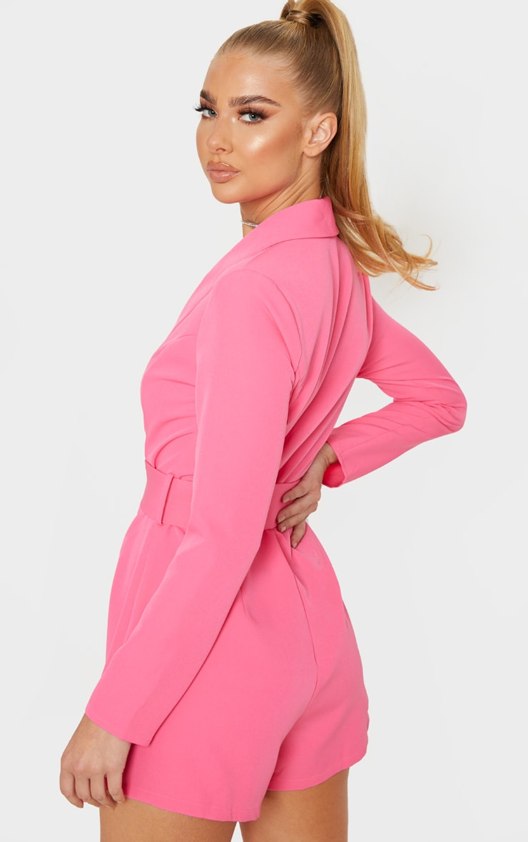 Pink Long Sleeve Tailored Belted Playsuit 2