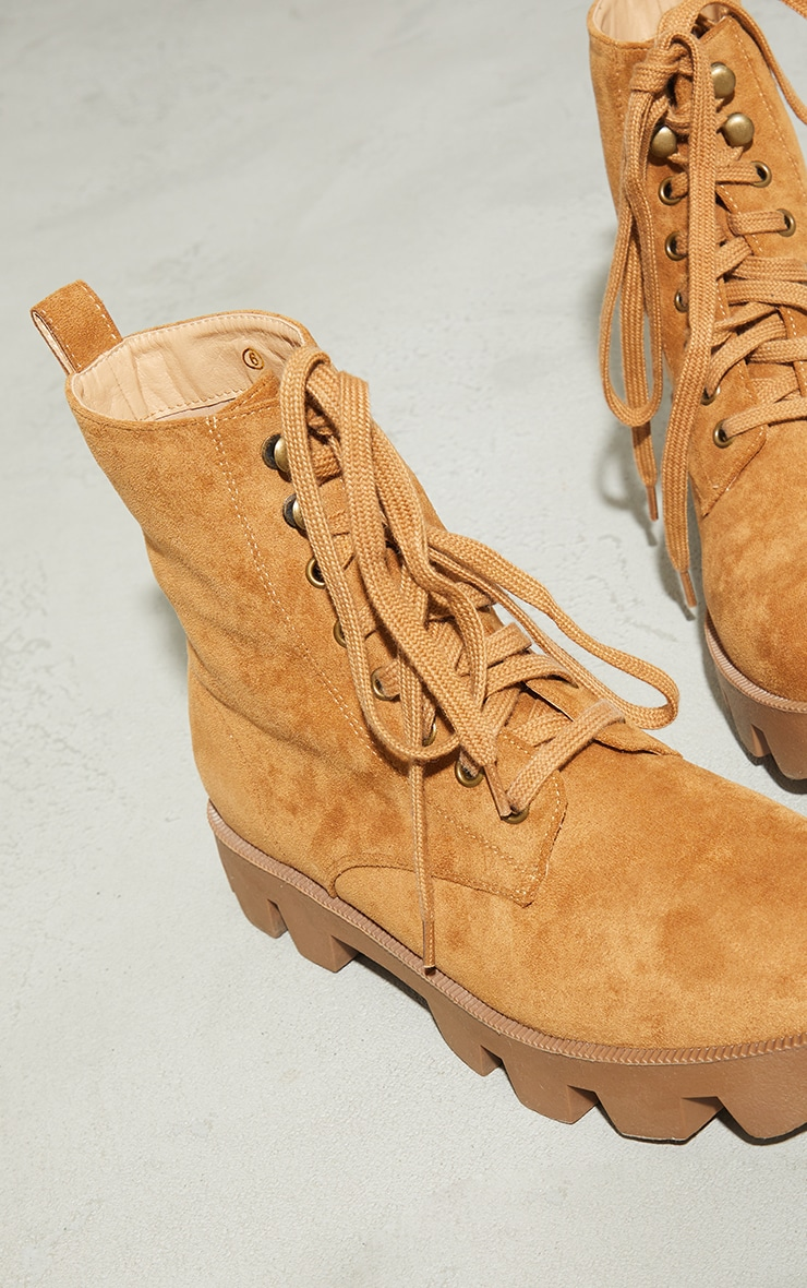 Beige Suede Extreme Cleat Chunky Lace Up Ankle Boots 4