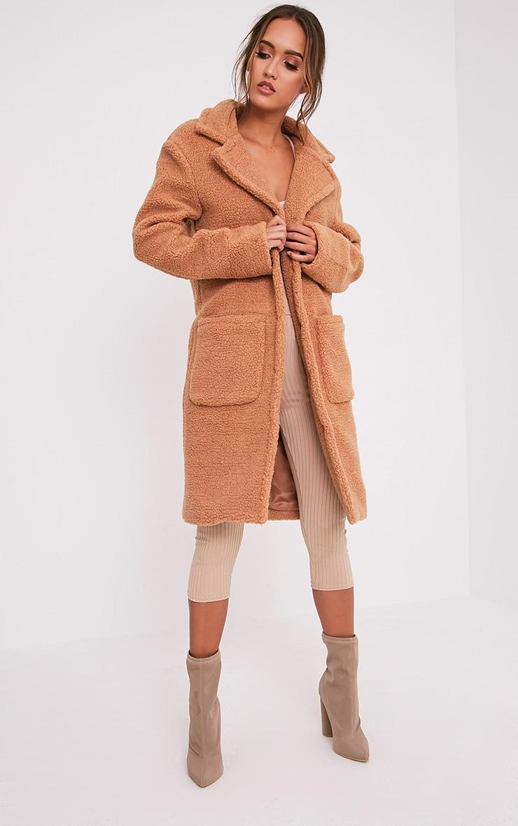Taibah manteau long en fausse fourrure camel 1