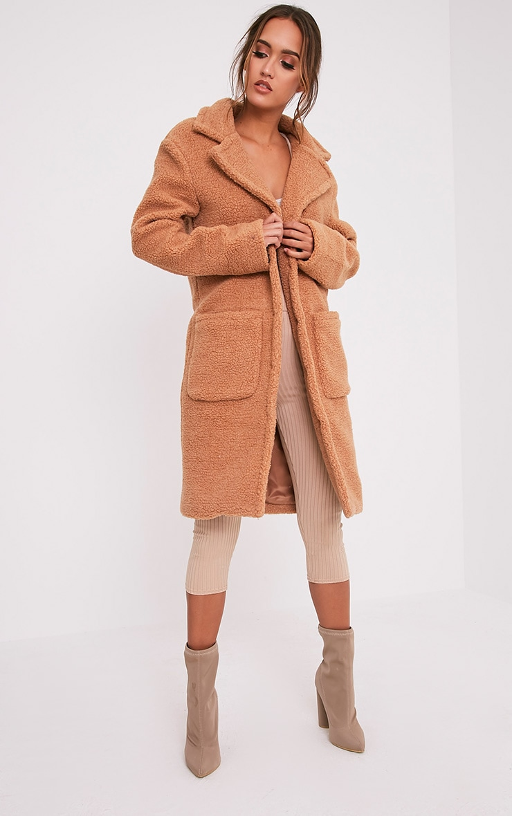 Taibah Camel Teddy Fur Longline Coat 1