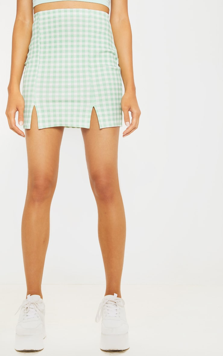 Mint Gingham Slit Front Mini Skirt  2