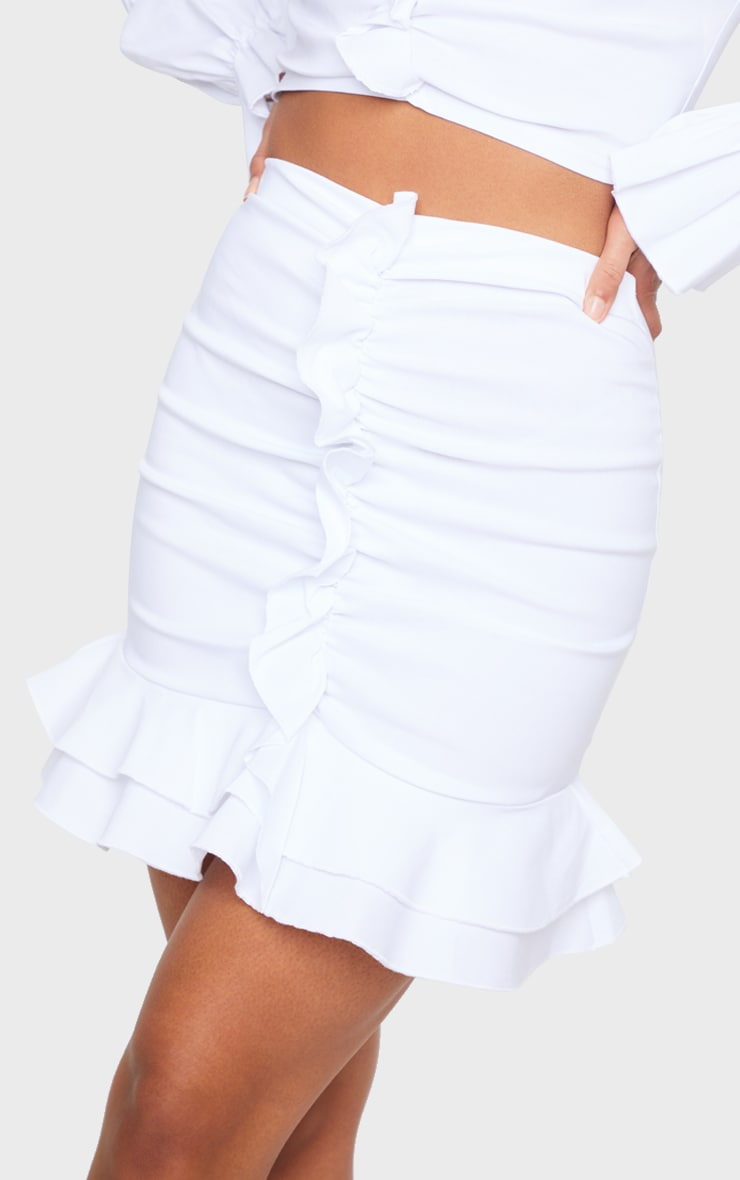White Woven Stretch Frill Ruched Front Mini Skirt 5
