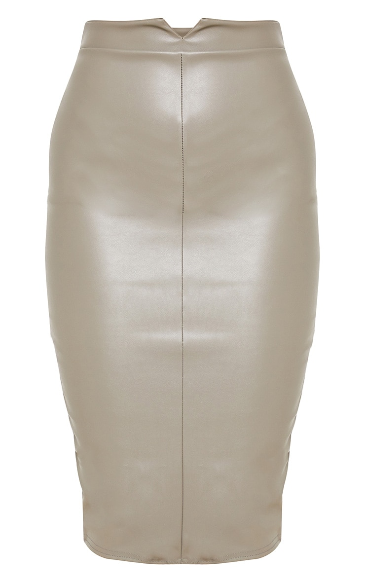 Eva Taupe Faux Leather Panel Midi Skirt 3