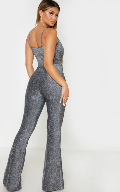 Black Glitter Knot Front Strappy Jumpsuit