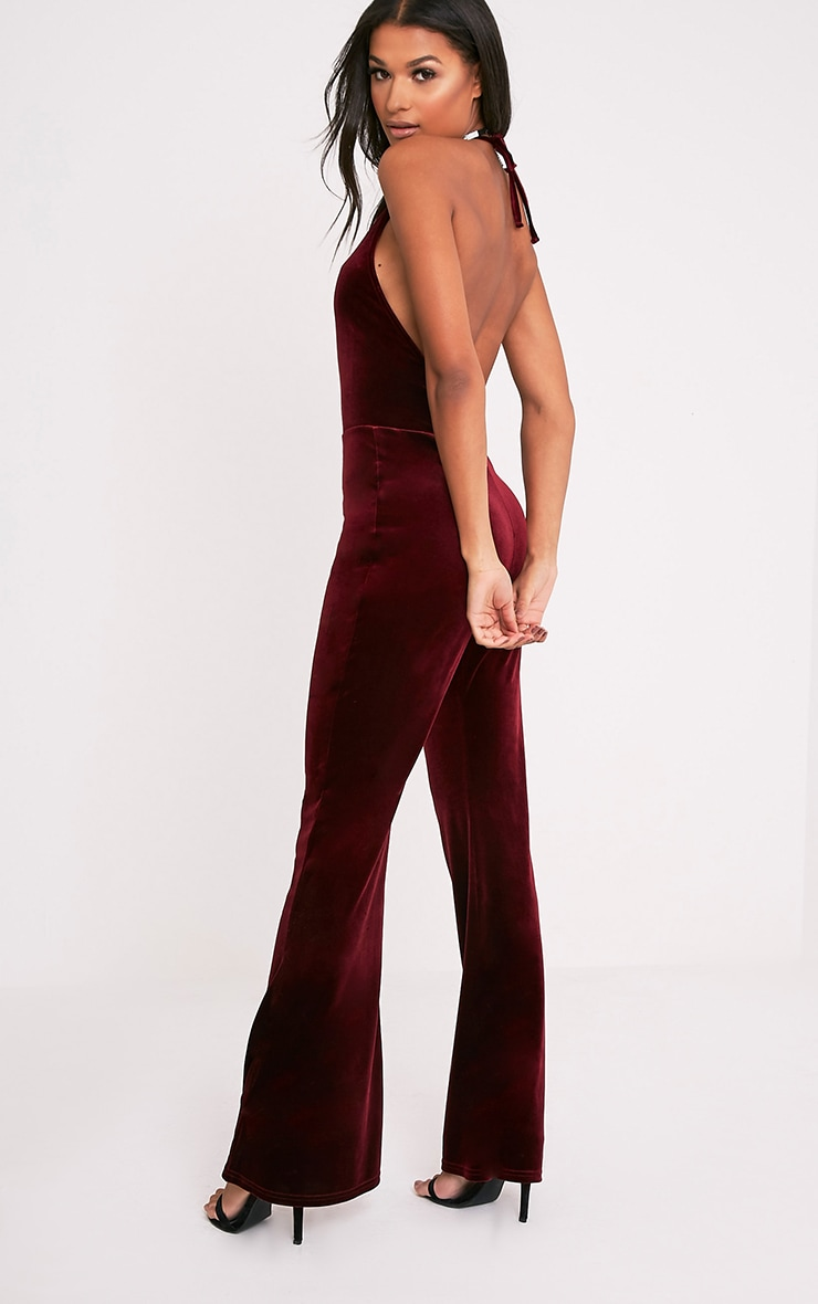 Erica Burgundy Velvet Open Back Wide Leg Jumpsuit 1