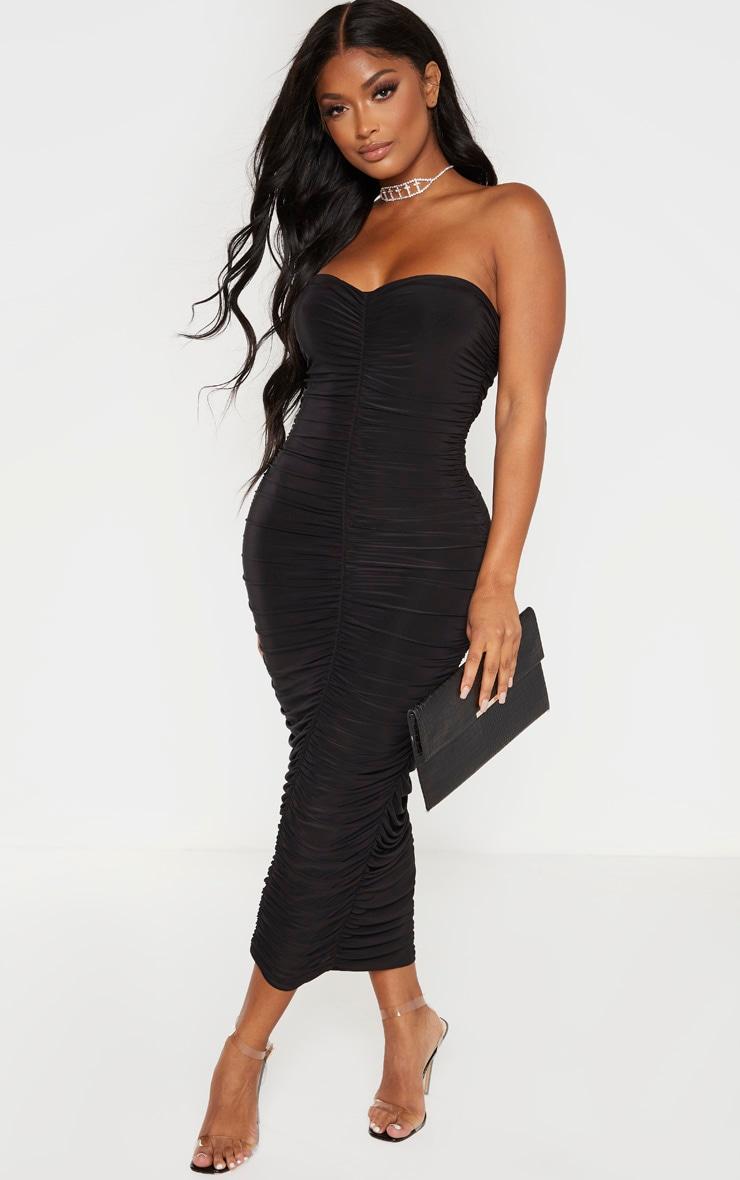 Shape Black Bandeau Ruched Midaxi Dress 1