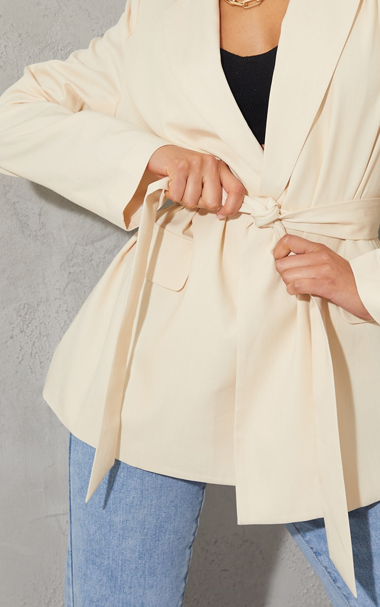 Cream Woven Oversized Pocket Front Belted Blazer 4