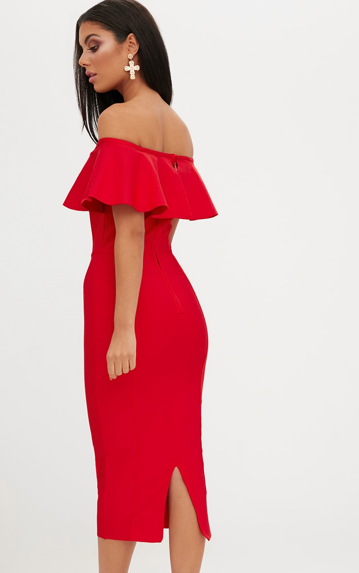 Red Bandage Frill Bardot Midi Dress 2