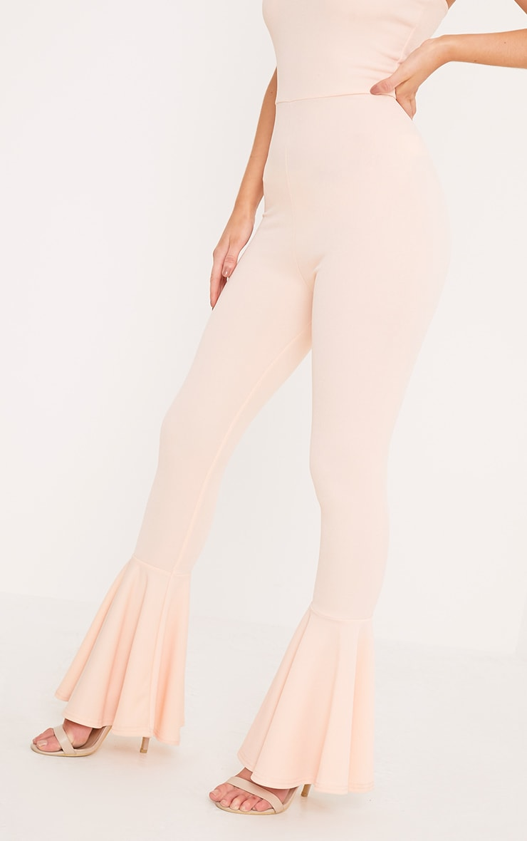 Livvy Nude Extreme Frill Flare Cropped Jumpsuit  5