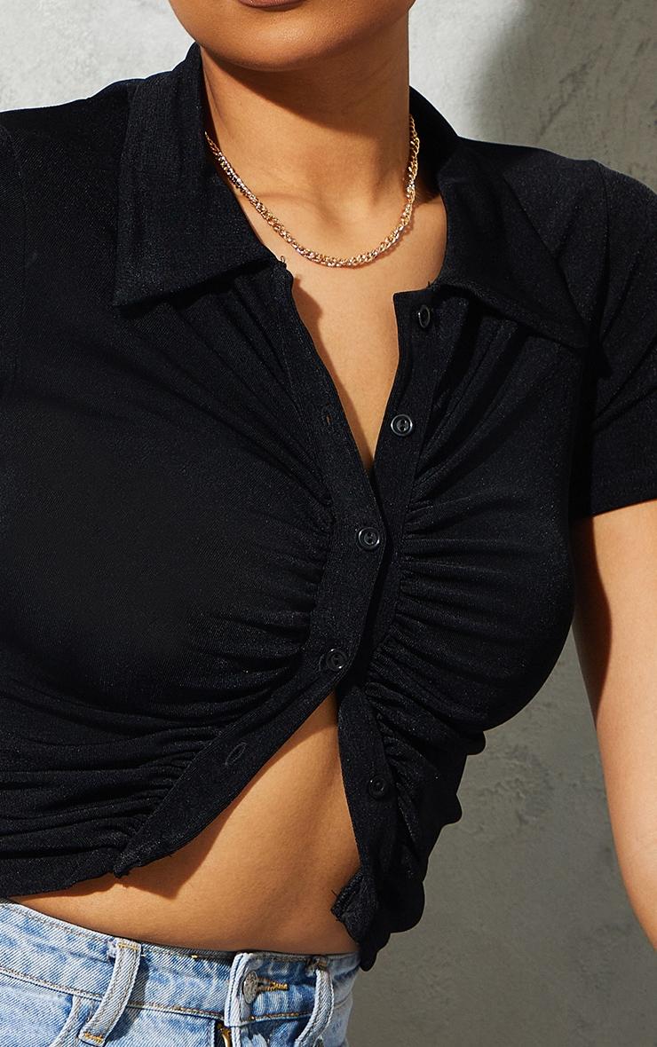 Chemise noire froncée devant en acétate à manches courtes 5