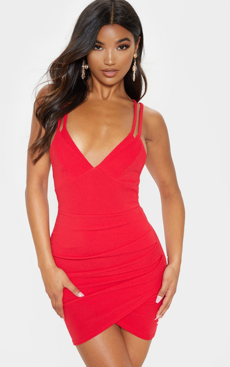 Red Double Strap Wrap Skirt Bodycon Dress 1