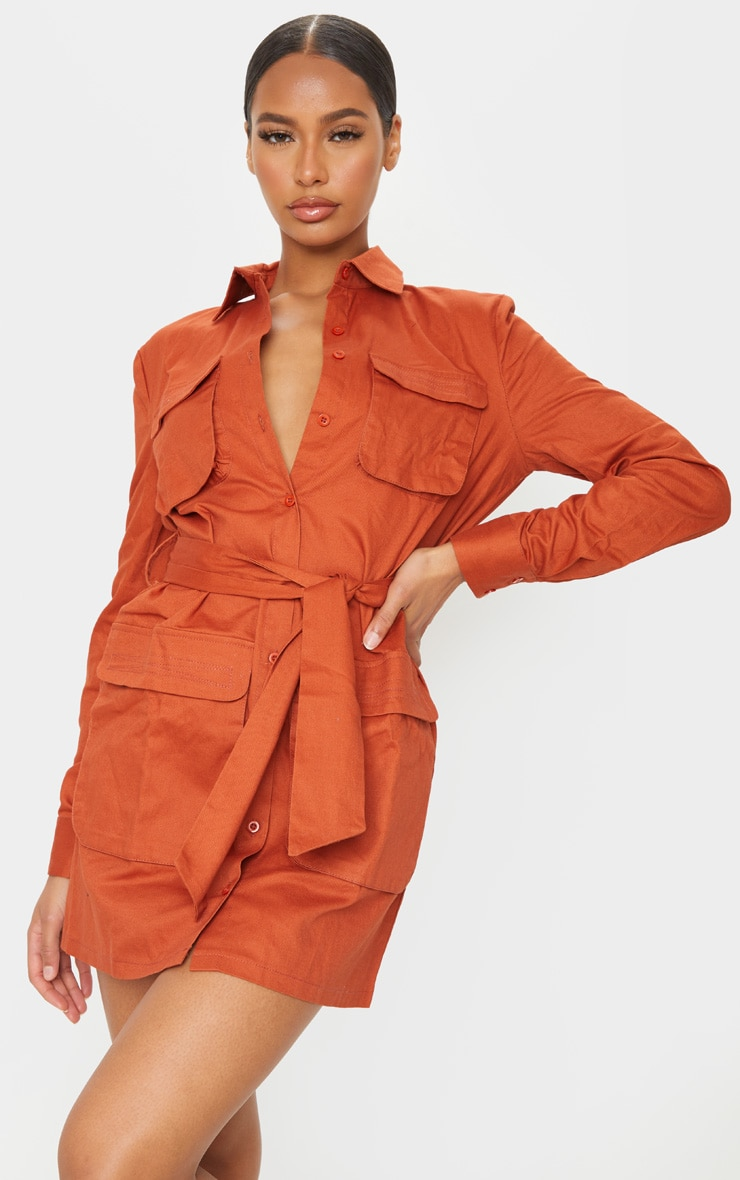 Terracotta Utility Tie Waist Shirt Dress 1