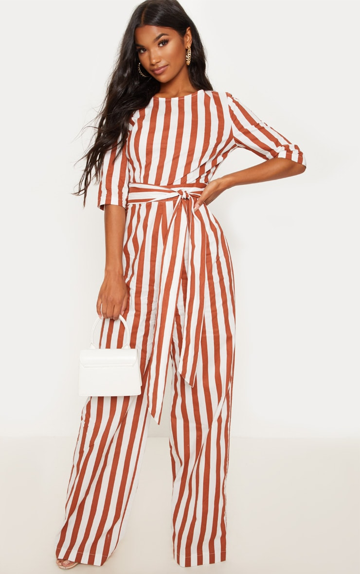 Rust Stripe Tie Detail Jumpsuit  1