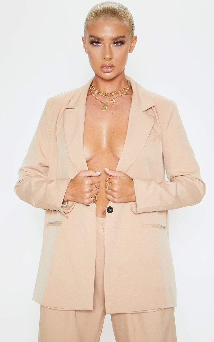 Camel Oversized Dad Blazer 1