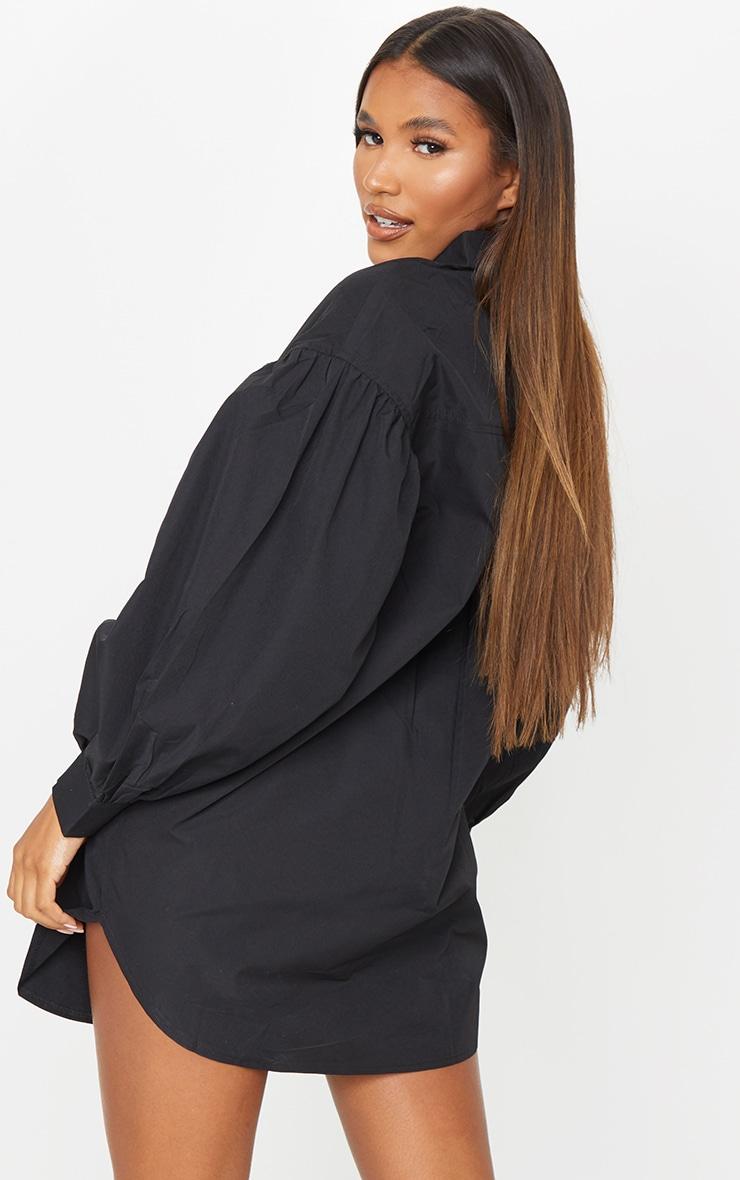 Black Pleated Puff Sleeve Shirt Dress 2