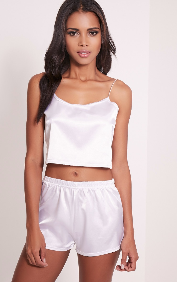 Issie White Satin Pyjama Shorts Set 1