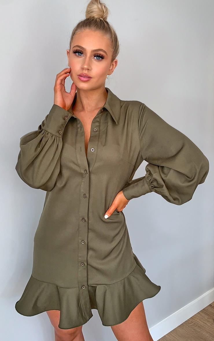 Khaki Frill Hem Shirt Dress 1