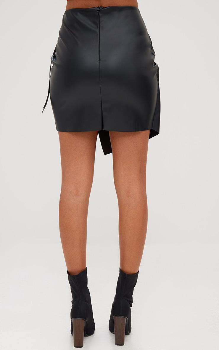 Black Faux Leather Ring Belt Wrap Mini Skirt 4